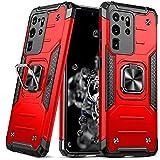 DASFOND Armor Hülle für Samsung Galaxy S20 Ultra 5G Militärische Stoßfeste Hülle [Upgrade 2.0] 360 ° Ständerhalter Magnetischer Autohalter Handyhülle 15-Fuß-Falltest Cover,Rot