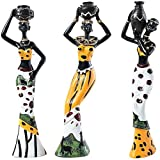 FRECI 3pcs African Figures Sculpture Tribal Lady Figurine Statue Sculpture Statue Stand - Yellow