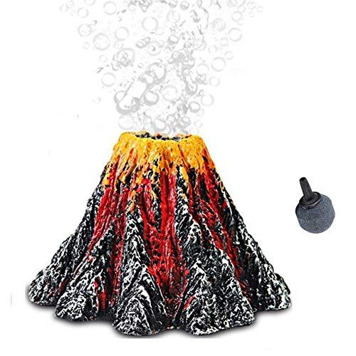 Touker Aquarium Volcano with Air Stone Bubbler, Realistic Fish Tank Volcano Bubble Maker, Add More Oxygen Great Addition for Fish Tank Aquarium Beta Tank (Small)