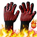 EKKONG 1472? Heat Resistant BBQ Gloves, Food Grade Kitchen Oven Mitts - Oven Gloves with Cut Resistant, Silicone Non-Slip Cooking Hot Glove for Grilling, Welding, Cutting, Baking (1 Pair)
