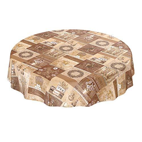 Anro - Mantel de hule, diseño de lavanda, beige marrón, Rund 120cm Schnittkante