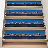 American 7-Pack Carpet Stair Tread, Non-Slip, Soft,Midtown Manhattan and The Empire State Building at Night,rotection Kids, Elders, and Dogs Safety