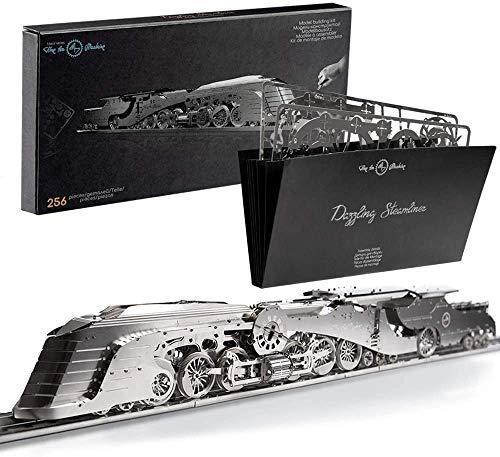 Maqueta en 3D. Maqueta de tren a escala de época Kit Dazzling Steamliner. Rompecabezas 3D para adultos-Metal. Dimensiones:510x70mm. Número de piezas: 256