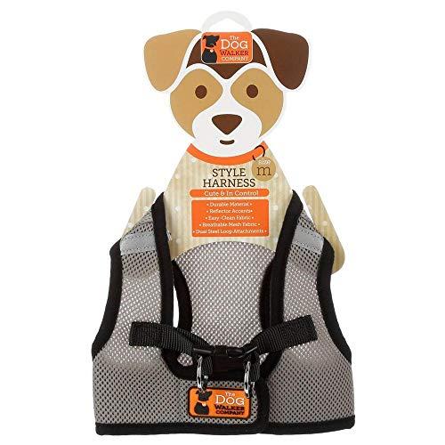 The Dog Walker Company | No Pull Reflective Dog Harness | Medium 15-20Lbs (Grey/Black)