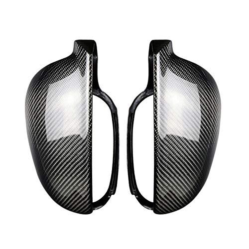 Auto Spiegelkappen 2ST Carbon-Faser-Art ABS Seitenrückspiegel Abdeckung Ersatz for 5 Golf MK5 2003-2009 Rückspiegelkappe (Color : Carbon fiber)