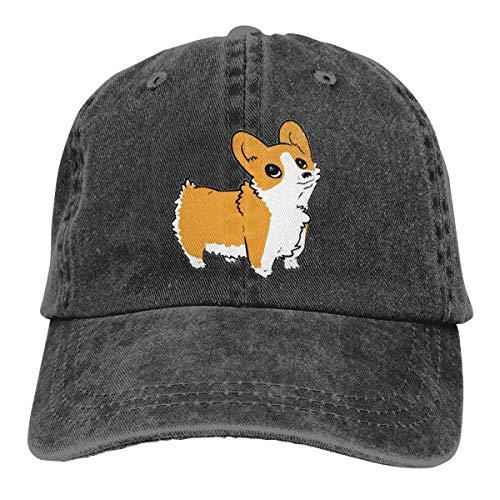 Wfispiy Neue Stiefel Crew Corgi Puppy Denim Schwarze Baseballkappe Männer Frauen Klassischer Verstellbarer einfacher Hut