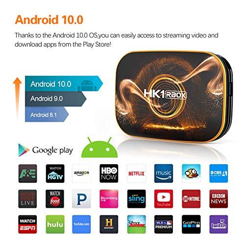 YGQNH Dongle-Empfänger, HK1 RBOX R1 Smart-TV-Box Android 10.0 4K Media Player RK3318 4 GB / 128 GB 2,4 G 5 G WiFi BT4.0 100 M LAN Mit Fernbedienung(Size:4GB+64GB)