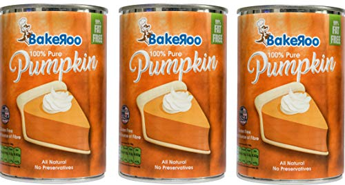 (Pack of 3) Bakeroo Tinned Pumpkin Puree (Pumpkin Pie Filling - Torta di zucca), 100% Natural - 425g