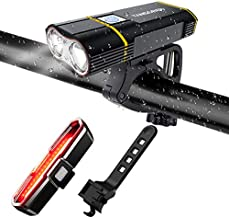TANSOREN USB Rechargeable Bicycle Light Front and Back Set, 2000 Lumens LED Lamp Bike Headlight and COB Tail Light Upgrade Front Bike Light Base Waterproof 5 Light Modes for Road Cycling