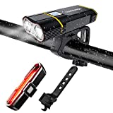 TANSOREN USB Rechargeable Bicycle Light Front and Back Set, 2000 Lumens LED Lamp Bike Headlight and...