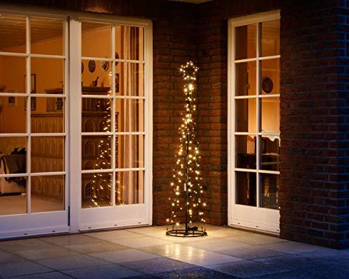 LED Metall-Tannenbaum | mit warmweißen LED beleuchtet | Lichterbaum - Weihnachtsbaum für den Innen und geschützten Außenbereich (180 cm / 160 LED)