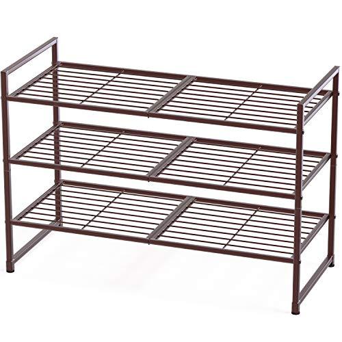 Simple Houseware 3-Tier Stackable Shoes Rack Storage Shelf Bronze