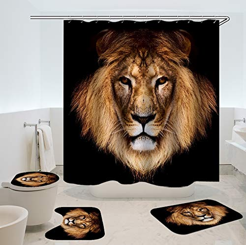 Sara Nell Duschvorhang, afrikanische amerikanische Liebhaberpaare, King und Queen Ölgemälde, 182,9 x cm, schimmelresistenter rutschfeste Badteppiche 72*72 inch Animal Lion Bathroom 4 Sets