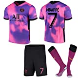 FURUN 2021 Paris Three Away Jersey Rosa Violeta Camiseta de fútbol N ° 10 Neymar N ° 7 Mbappé Camiseta para niños + Shorts + Calcetines