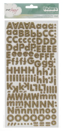 Dear Lizzy 5th & Frolic Thickers Alphabet Stickers-Glitter Foam Fox/Gold