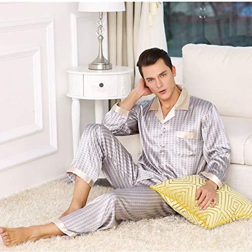 Conjunto de Pijamas de satén de Seda para Hombres, Pijamas Estampados de Manga Larga, Ropa para Hombres en casa 5 XL