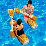 4 Pcs / Set Deportes Acuáticos Flotador PVC Adultos Niños Forma de Madera Juguete Flotante Natación Flotador Inflable Juegue Barco Balsa Colisión Juguetes para Piscina de Playa al Aire Libre