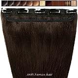 Extension a Clip Cheveux Naturel Rajout Monobande Une Pièce 100% Cheveux Humain Vrai Cheveux Remy #02 Chocolat foncé - 40 cm (45g)