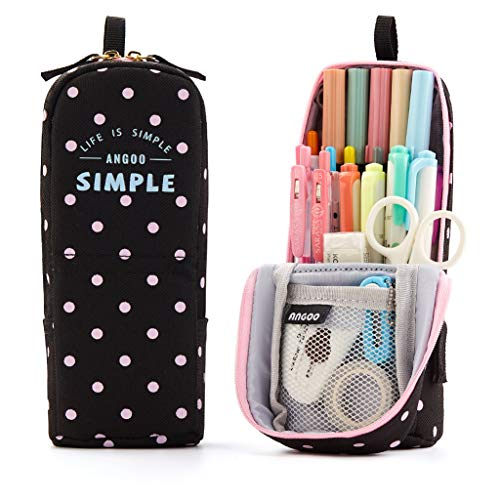 ANGOOBABY Standing Pencil Case Pencil Pouch Pen Bag for Teen Girl Boy Students (Black Pink Dot)