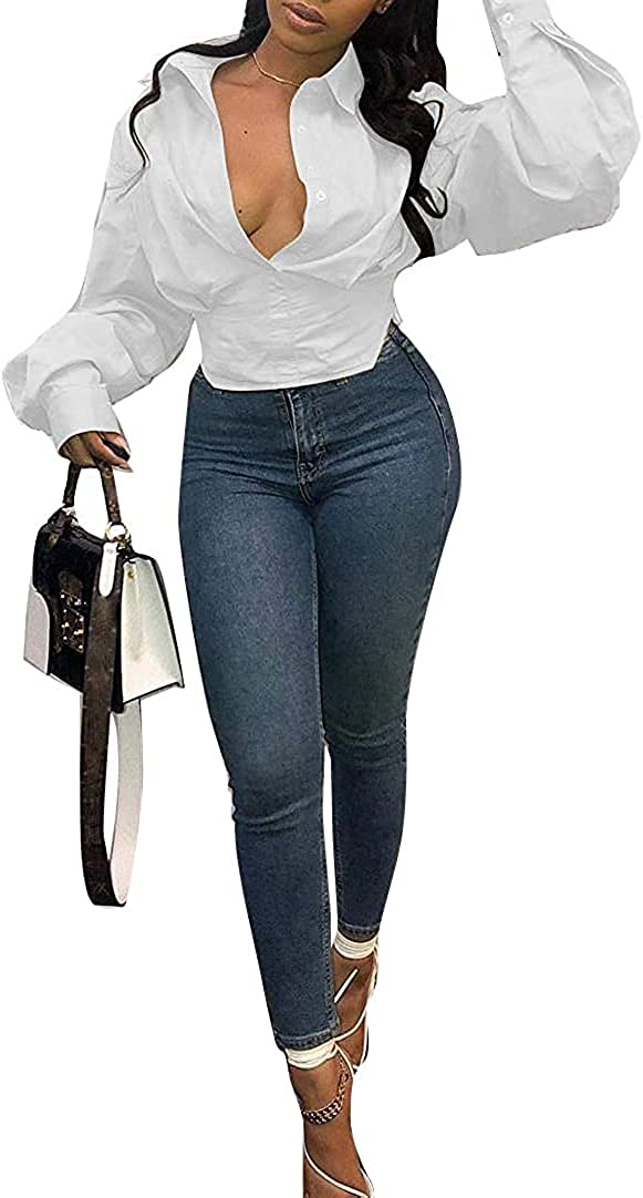 Women Casual V Neck Puff Long Sleeve V Neck Button Tunic Loose Fit Shirt Blouse Top