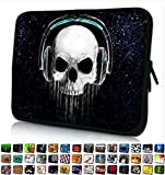 Funky Planet 13' inch Laptop Sleeve Case Bag Compatible with Apple MacBook air pro Dell Lenovo Samsung Asus Computer Tablet or Ipad (Black Skull Headphones)
