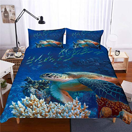 Sea Turtle Duvet Cover Set,3D Animal Series Ultra Soft Hypoallergenic Microfiber Quilt Cover Sets Bedding Set with Pillowcases (Boys Girls),2,230 * 220cm