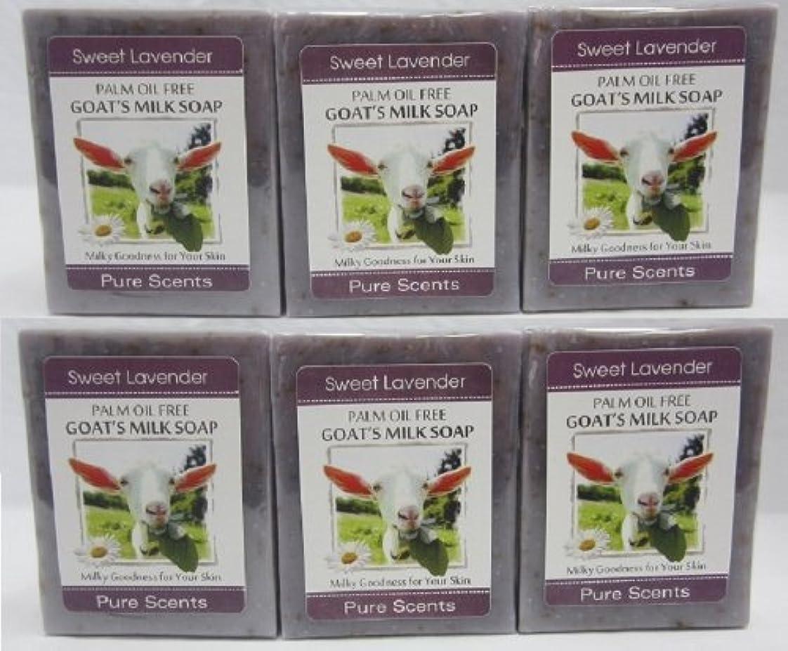 ジャムかる強調する【Pure Scents】Goat's Milk Soap ヤギのミルクせっけん 6個セット Sweet Lavender スイートラベンダー