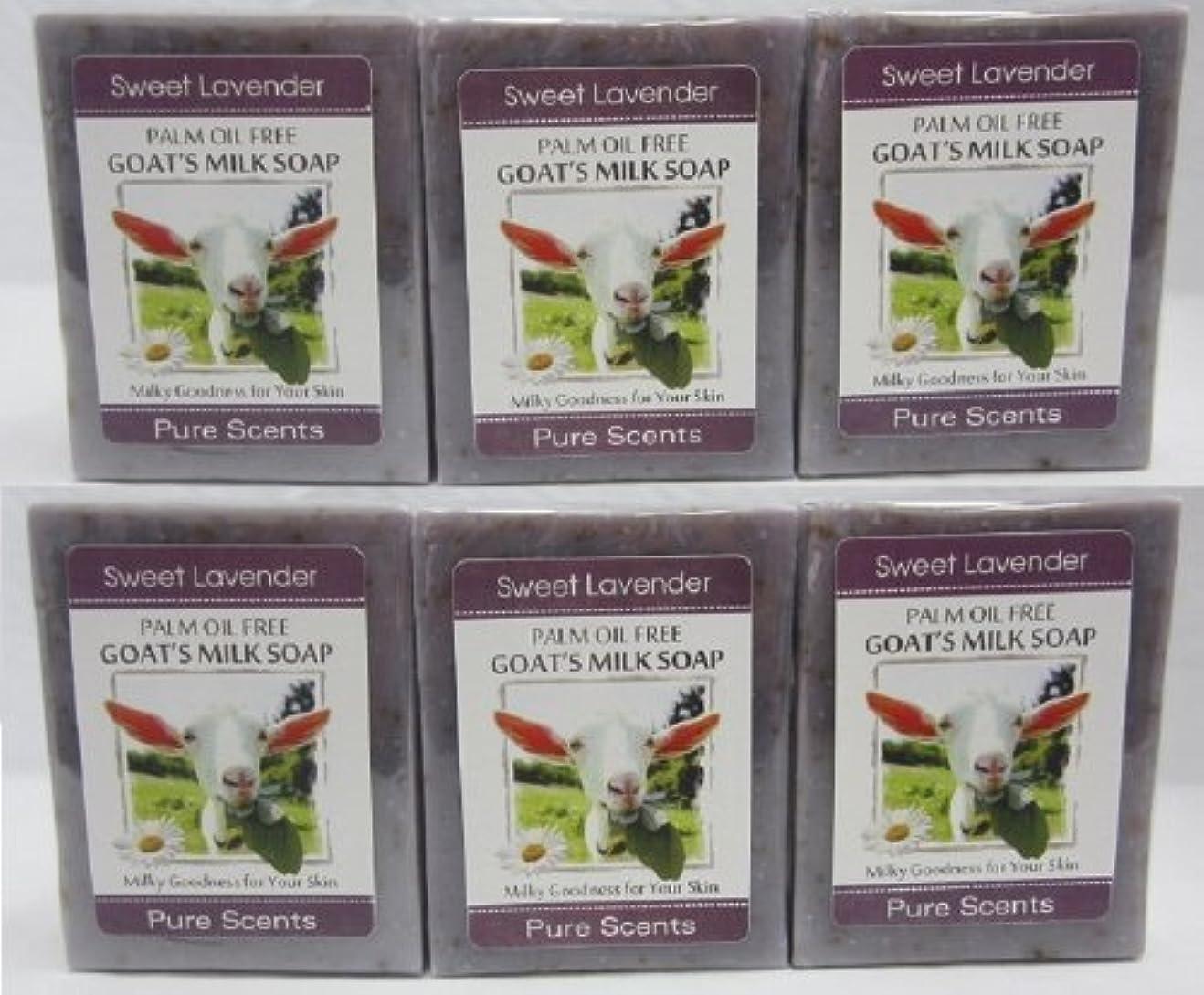 楽しいシリングシンプトン【Pure Scents】Goat's Milk Soap ヤギのミルクせっけん 6個セット Sweet Lavender スイートラベンダー
