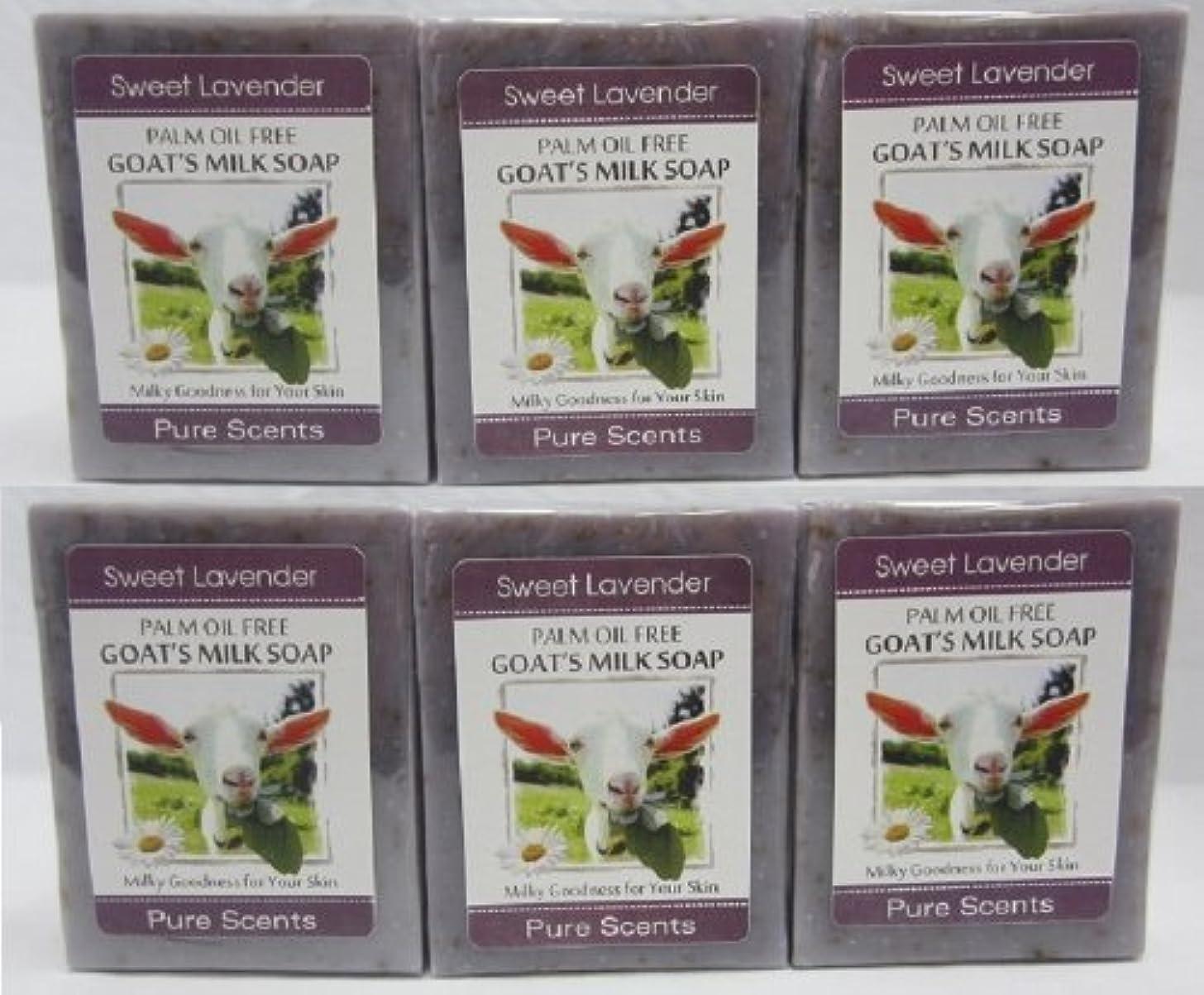 最後に許容ロシア【Pure Scents】Goat's Milk Soap ヤギのミルクせっけん 6個セット Sweet Lavender スイートラベンダー