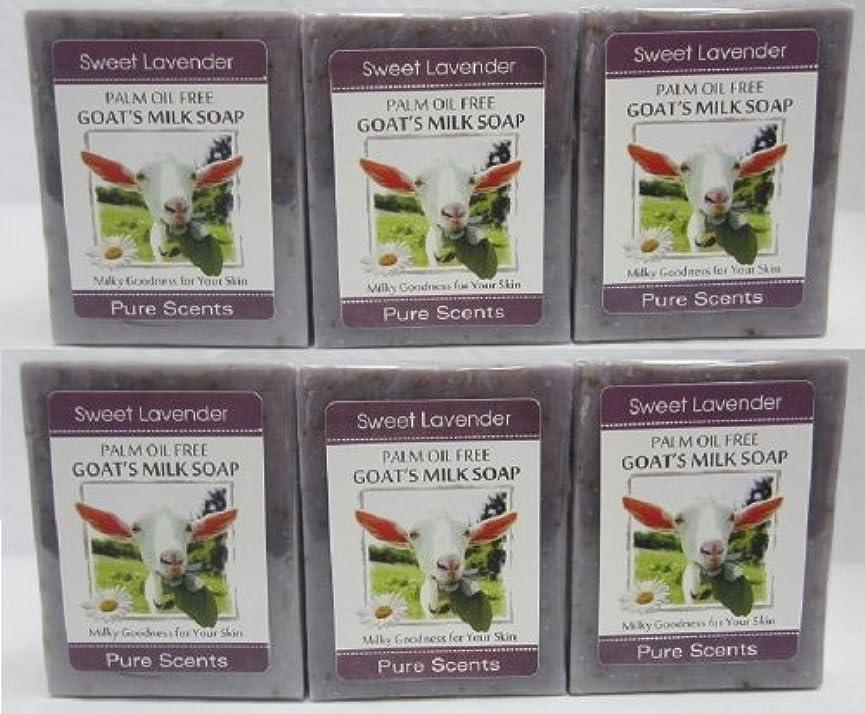 スペース小間プラットフォーム【Pure Scents】Goat's Milk Soap ヤギのミルクせっけん 6個セット Sweet Lavender スイートラベンダー