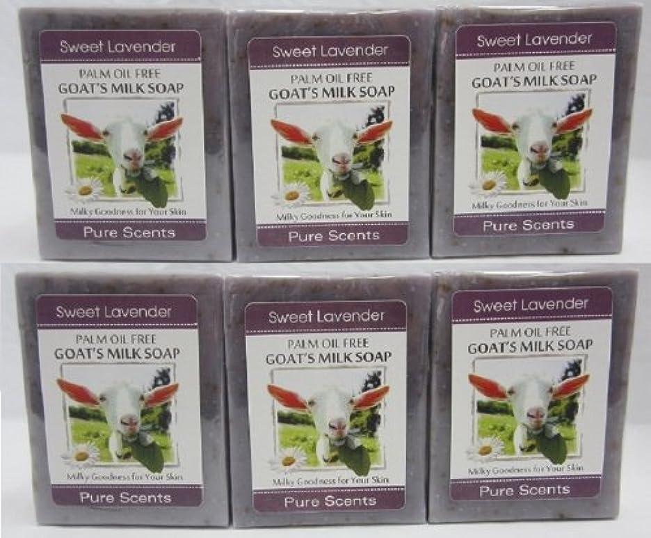 オーク証明するファンネルウェブスパイダー【Pure Scents】Goat's Milk Soap ヤギのミルクせっけん 6個セット Sweet Lavender スイートラベンダー