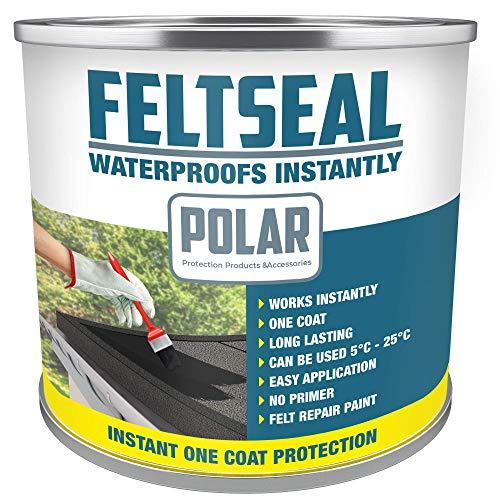 Polar Premium Black Instant Waterproof Felt Roof Sealant Paint 500ml, Emergency Felt Roof Repair Sealer for All Felt Roofs