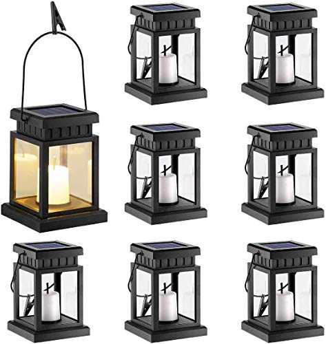 Solar Candle Lantern, Waterproof Flameless Candle Light, Dusk to Dawn Timer, for Floor Patio Decor