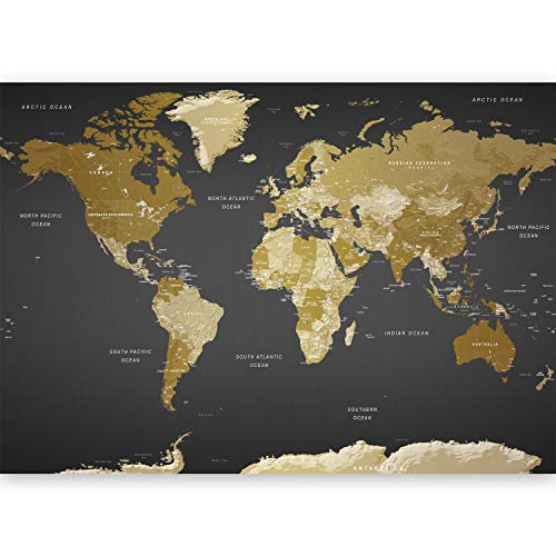 artgeist Wall Mural World Map 192.9'x110.2' XXL Peel and Stick Self-Adhesive Foil Wall Mural Removable Sticker Premium Print Picture Image Design Home Decork-A-0092-x-a