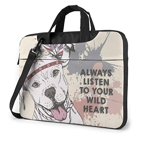 Laptop Sleeve Case,Pitbull Dog Briefcase Messenger Notebook Bag 15.6Inch