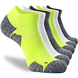 Arch Support Socks for Men Women 6-pairs, CWVLC Compression Gym Running Athletic Ankle Socks No Show Blister Resistant Moisture Wicking Short Low Cut, Grey Green White, XL (12-13 Men)