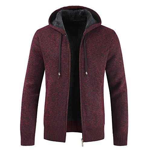 Xmiral Herren Stricken Jacke Mantel Lässige Zipper Kordelzug Hoodie Outwear Pullover (L,Rot)