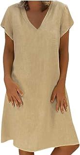 246574f1753 Women s Dresses-Short Sleeve V Neck T Shirt Midi Skater Mini Dress Summer  Linen Dress