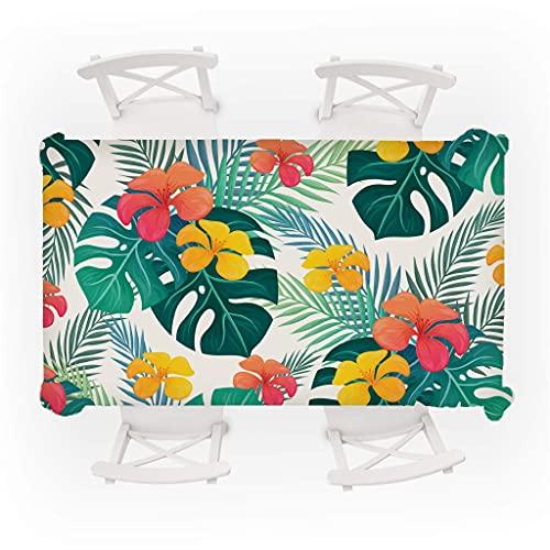 Mantel de Flores de Colores, Mantel Rectangular Lavable, Adecuado para Cocina, Comedor, Exterior e Interior M-2 140x160cm
