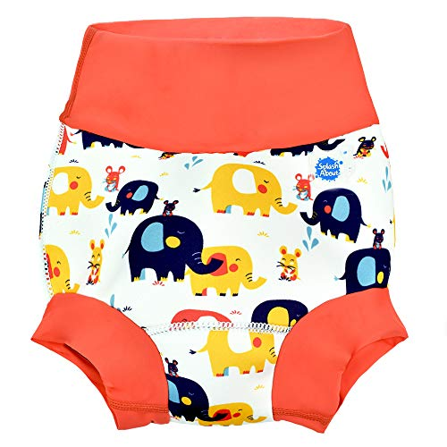 Splash About Unisex-Baby Neue Und Verbesserte Happy Nappy Windel Schwimmen Kinder New Improved, Little Elephants, 6-12 Monate