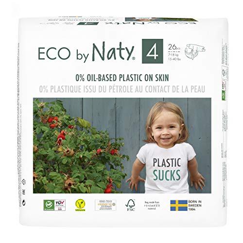 Eco by Naty, Taglia 4, 156 pannolini, 7-18kg, fornitura di UN MESE, Pannolino eco premium a base vegetale con lo 0% di plastica sulla pelle