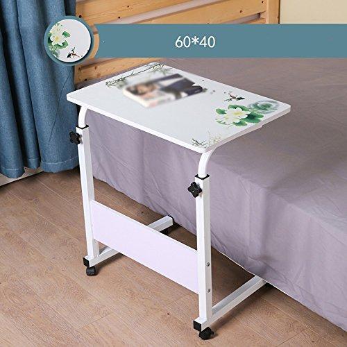 Table pliante YNN Table Ordinateur Bureau MDF Blanc Hauteur Réglable 60 * 40 cm 80 * 40 cm 80 * 50 cm Table Paresseux Bureau Ménage Simple Bureau Amovible Petite Table (Couleur : 2)