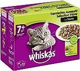Whiskas 7 + Katzenfutter – Gemischte Auswahl in Sauce – Hochwertiges Nassfutter für Katzen ab 7 Jahren und älter – Für die Bewahrung der...