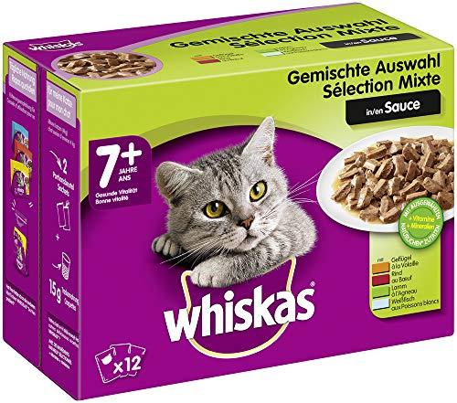 Whiskas 7 + Katzenfutter – Hochwertiges Nassfutter für gesundes Fell , Gemischte Auswahl in Sauce, 4 x (12 x 100g)