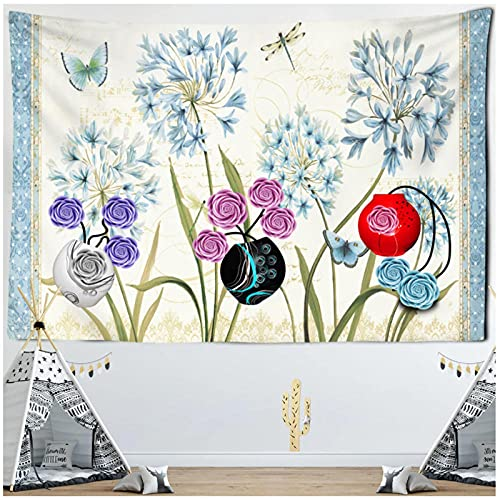 Tapiz by BD-Boombdl Planta tapiz de flores silvestres colorida planta de flor de rosa Hippie tapiz bohemio psicodélico decoración del hogar 59.05'x39.37'Inch(150x100 Cm)