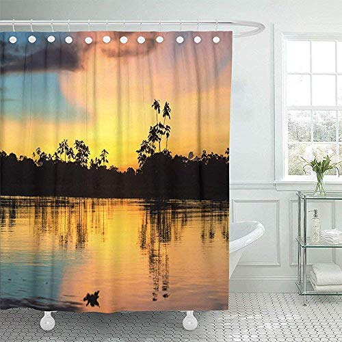 Cortinas de baño, Fabric Shower Curtain with Hooks Yellow River Colorful Sunset Deep in The Amazon Rainforest Peru Jungle Amazonas Forest Decorative Bathroom Treated to Resist Deterioration by Mildew