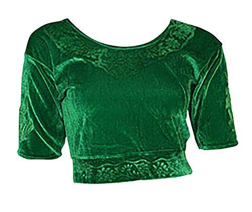 Trendofindia Trendofindia Grün Choli (Sari Oberteil) Samt Gr. 50 Gr. 3XL XXXL ideal für Bauchtanz