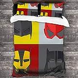AIMILUX Funda Edredón,Superhéroe,máscaras para disfrazarse de héroes para Luchar contra el Mal,Divertidos Dibujos Animados Retro,Ropa de Cama Funda Nórdica,1(220x240cm)+2(50x80cm)