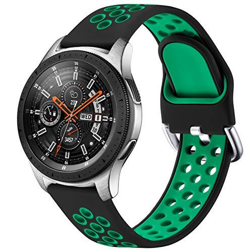 JUVEL Compatible con Samsung Galaxy Watch 3 45mm Correa/Samsung Gear S3 Correa, Silicona Suave de 22mm Correas de Repuesto Deportivas Transpirables para Huawei Watch GT2, Grande, Verde Negro