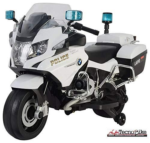 Tecnobike Shop Moto Elettrica per Bambini 12V BMW R1200 Police Bianca con Chiave Accensione Luci e Suoni